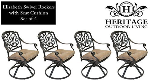 Heritage Outdoor Living Elisabeth Cast Aluminum Swivel Rocker - Set of 4 - Antique Bronze