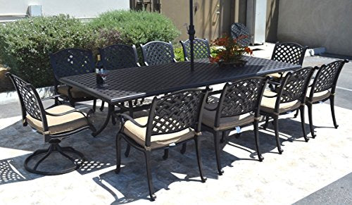 "Nassau Outdoor Patio 11 pcs Dining Set Table 46"" X 120"" and 10 Chairs Dark Bronze, Cast Aluminum"