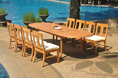 "8 Seats 9 Pcs Grade-A Teak Wood Dining Set: 118"" Double Extension Oval Table and 8 Osborne Armless Chairs #WHDSOS99"