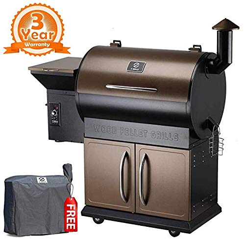 Z GRILLS Classic Wood Pellet Grill & Smoker, 8 in 1 BBQ Grill Digital Temperature Control 700 sq inch Cooking Area & Raincover Included, Heathy BBQ Life!
