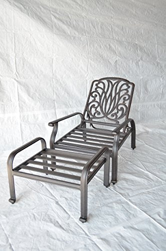 Elizabeth Outdoor Patio Set of 4 Adjustable Club Chairs Cast Aluminum Sunbrella Sesame Cushions