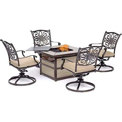 Hanover TRAD5PCSQSW4FP-TAN Traditions 5-Piece Chat Set with 4 Swivel Rockers in Tan with a 40,000 BTU Fire Pit Table Outdoor Furniture