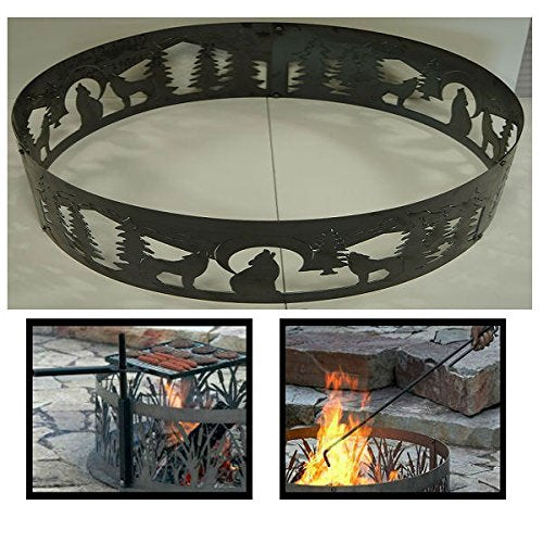 PD Metals Steel Campfire Fire Ring Wolves Design - Unpainted - with Fire Poker and Cooking Grill - Extra Large 60 d x 12 h Plus Free eGuide