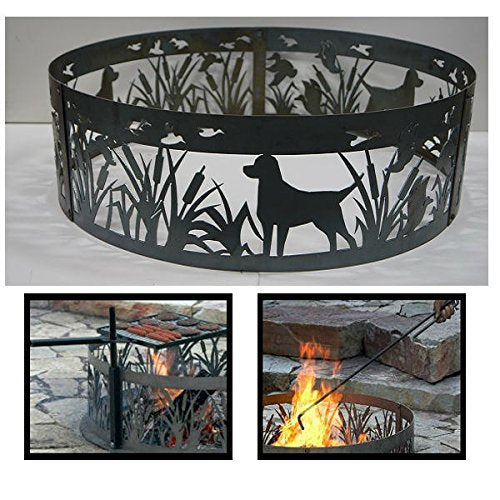 PD Metals Steel Campfire Fire Ring Lab N' Ducks Design - Unpainted - with Fire Poker and Cooking Grill - Extra Large 60 d x 12 h Plus Free eGuide