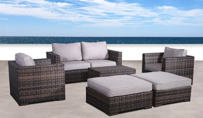 Fully Assembled | Cabana Collection Outdoor Wicker Patio Furniture Sectional Conversation Sofa Set For Backyard, Porch or Pool | No Assembly Required[CM-4122](7 Piece Double Ottoman Lounge Set, Brown)