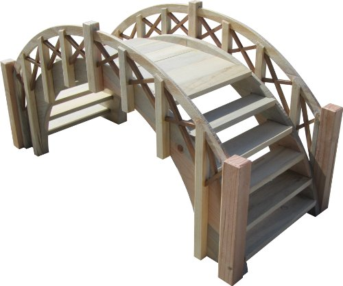 "SamsGazebos Fairy Tale Garden Bridge with Decorative Lattice Railings and Steps, 33"" L, Unfinished"