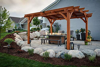 The Outdoor GreatRoom Company 12' X 16' Arched Redwood Wood Pergola with Lattice Roof