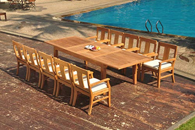 "11-pc Outdoor Teak Dining Set: 122"" Rectangle Extension Table & 10 Osbo Arm Chairs"