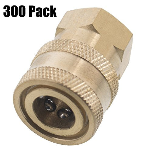 Erie Tools 300 1/4in. FPT Female Brass Socket Quick Connect Coupler 4000 PSI 10 GPM for Pressure Washer Nozzle Gun Hose Wand