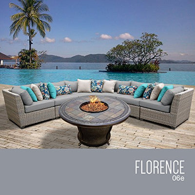 TK Classics FLORENCE-06e 6 Piece Outdoor Wicker Patio Furniture Set