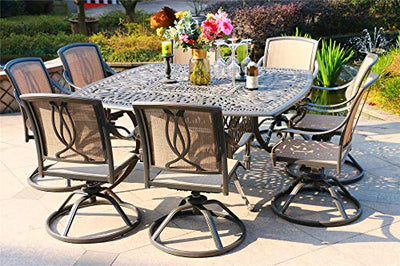 iPatio Athens 9 Piece Gun Metal Aluminum Square Dining Set with 8 Sling Swivel Dining Chairs