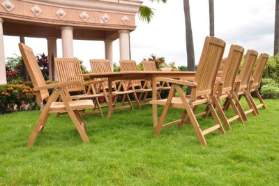 "New 11 Pc Luxurious Grade-A Teak Dining Set - 117"" Rectangle Table And 10 Marley Reclining Arm Chairs #WHDSMRd"