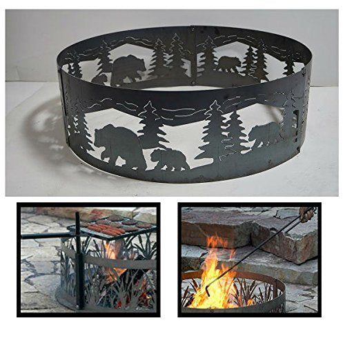 PD Metals Steel Campfire Fire Ring Bears N' Cubs Design - Unpainted - with Fire Poker and Cooking Grill - Extra Large 60 d x 12 h Plus Free eGuide