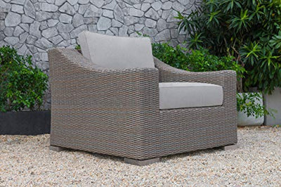 VIG Furniture Renava Palisades Collection Outdoor Poly Rattan Wicker 4 pieces Sofa Set with Waterproof Fabric Cushions, Aluminium Frame, Solid Wood Coffee Table and Legs, Beige