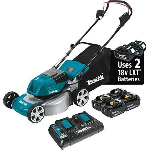 "Makita XML03PT1 18V X2 (36V) LXT Lithium‑Ion Brushless Cordless (5.0Ah) 18"" Lawn Mower Kit with 4 Batteries"", Teal"