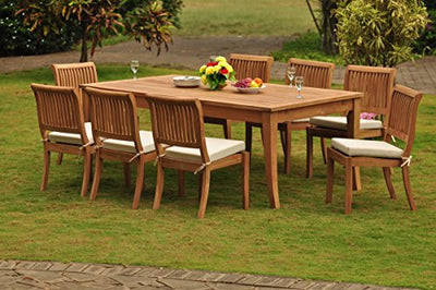 "New 9 Pc Luxurious Grade-A Teak Dining Set - 122"" Atnas Rectangle Table , 2 Stacking Arbor Arm & 6 Armless Chairs #WHDSAB23"