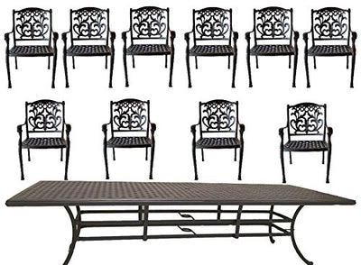 "11 piece dining set patio furniture outdoor Flamingo chairs Nassau cast aluminum rectangular 46""x120"" table."