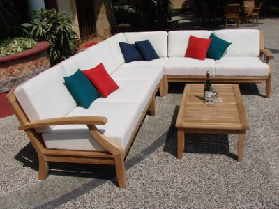 WholesaleTeak Samurai 5 Piece 6 Seat Teak Sectional Sofa Set: 2 Sofas(Left & Right), Corner Piece, Armless Chair & Coffee Table : Furniture only #WHSSSSAc
