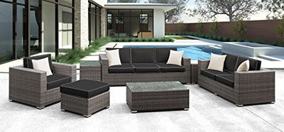 Solis Patio Lusso 7 Piece Deep Seated Sofa Set, Grey Rattan, Black/Cream Cushions, Cream Toss Pillows, Grey/White/Silver