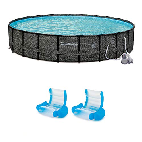 Summer Waves 24ft x 52in Pool Set & Inflatable Rocking Chair Lounges (2 Pack)