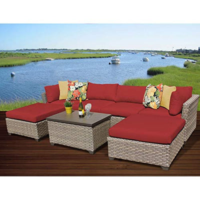 Delacora MONTEREY-07b-TERRACOTTA Pacific West 7-Piece Aluminum Framed Outdoor Conversation Set with Ottomans and Storage Coffee Table