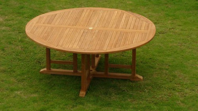 "TeakStation 8 Seater Grade-A Teak Wood 9 Pc Dining Set: 72"" Round Table and 8 Veranda Arm Chairs #TSDSVRs"