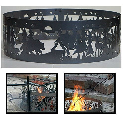 PD Metals Steel Campfire Fire Ring Northwoods Campground Design - Unpainted - with Fire Poker and Cooking Grill - Extra Large 60 d x 12 h Plus Free eGuide