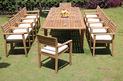 "TeakStation 12 Seater Grade-A Teak Wood 3 Pc Dining Set: Very Large Caranasas 122"" Double Extensions Premium Rectangle Dining Table & 12 Montana Stacking Arm/Captain Chairs #TSDSMT15"