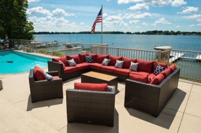 Vida Outdoor VD-PACIFIC-6AS4CS2CC1CT-TERRACOTTA Pacific 13 Piece Wicker Sectional Set-Terracotta Chair