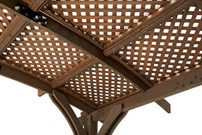 The Outdoor GreatRoom Company 12' x 12' Arched Wood Pergola with Lattice Roof in Mocha Finish