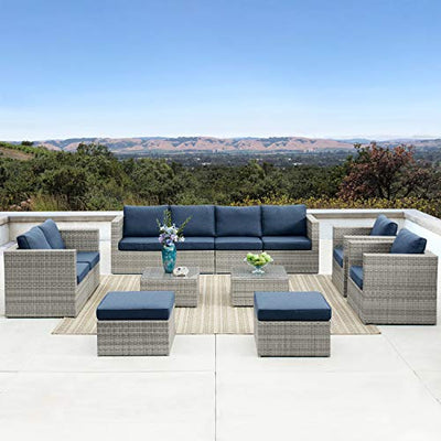Outdoor Furniture 12 Pieces Garden Patio Sofa Set | Wicker Rattan Sectional with Cushions | No Assembly Required | Aluminum Frame |