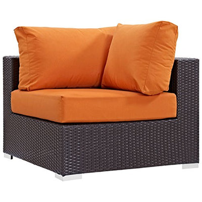 Modern Contemporary Urban Design Outdoor Patio Balcony Nine PCS Sectional Sofa Set, Orange, Rattan