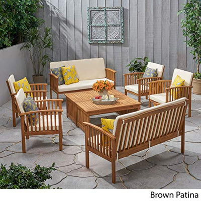 Christopher Knight Home 295746 The Carolina Beckley 8-pc Outdoor Wood Sofa Seating Set, 8 Piece, Natural Stained