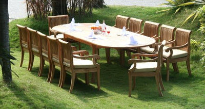 "New 13 Pc Luxurious Grade-A Teak Dining Set - 117"" Double Extension Oval Table 12 Giva Arm / Captain Chairs #WHDSGV10"
