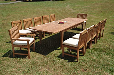 "TeakStation 12 Seater Grade-A Teak Wood 13 Pc Dining Set: 122"" Atnas Double Extension Rectangle Table and 12 Devon Chairs (2 Arm & 10 Armless Chairs) #TSDSDV67"