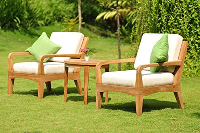 Noida 6 Piece Teak Lounge Sofa Set - 3 Seater Sofa, 2 Lounge Chairs, 1 Ottoman, 1 Round Coffee Table And 1 Round End Table - Furniture only - Noida COLLECTION #TSSSNO2