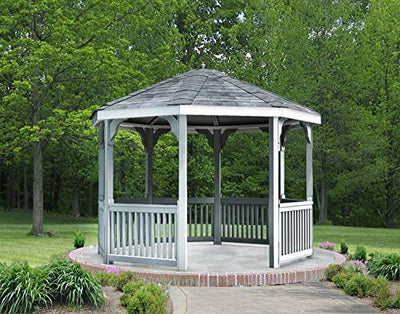 Fifthroom Markets Vinyl Gazebo Octagon 10 Foot - Durable Outdoor Furniture Backyard Seating, Exterior Structures, Home and Garden V1010