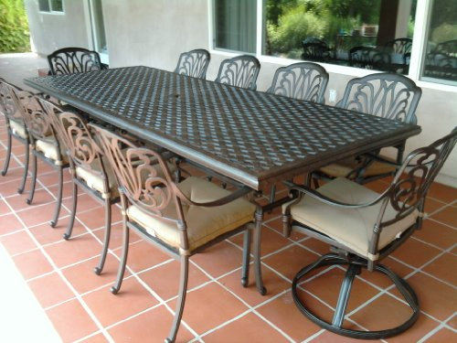 "Heritage Outdoor Living Elisabeth Cast Aluminum 11pc Dining Set 46""x120"" Rectangle Table"