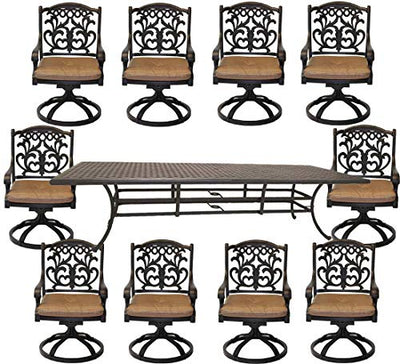 "10 Person Dining Set Patio Cast Aluminum 11pc Outdoor table 46""x 120"" Bronze"