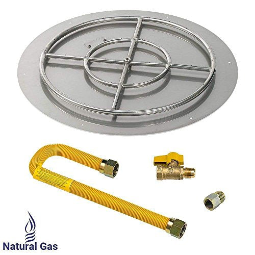 American Fireglass Match Light Fire Pit Kit (SS-RFPMKIT-N-30H), Round Flat Pan, Natural Gas, 30-Inch Pan/24-Inch Burner