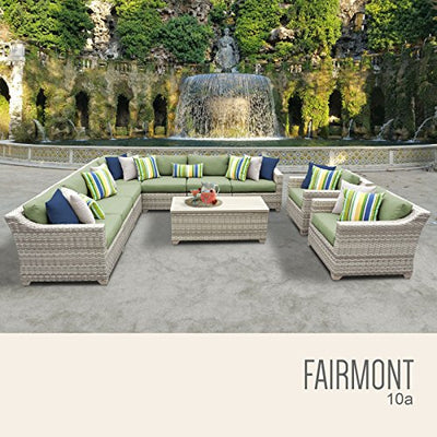 TK Classics FAIRMONT-10a-CILANTRO 10 Piece Outdoor Wicker Patio Furniture Set, Cilantro