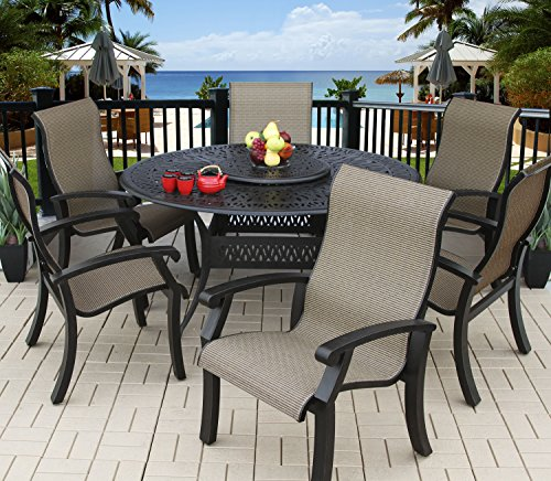 "Heritage Outdoor Living Cast Aluminum Barbados Sling Outdoor Patio 6 Person Dining Set with 60"" Round Table - (All Standards) - Antique Bronze Finish"