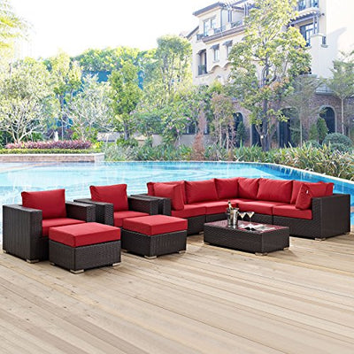 Modway Convene Collection EEI-2169-EXP-RED-SET 10-Piece Outdoor Patio Sectional Set with Coffee Table 3 Armless Chairs 2 Armchairs 2 Corner Sections and 2 Ottomans in