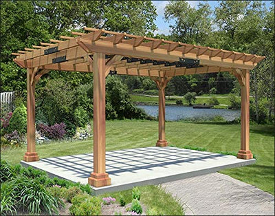 Fifthroom Markets Garden Pergola 10 Foot by 10 Foot - Durable Outdoor Western Red Cedar Furniture Backyard, Exterior Structures, Home and Garden