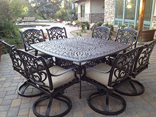 "Heritage Outdoor Living Santa Monica Cast Aluminum 9pc Dining Set 64""x64"" SQ Table - Antique Bronze"