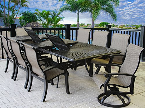 "Heritage Outdoor Living Cast Aluminum Barbados Sling Outdoor Patio 9pc Set with 48"" x 84"" - 132"" Rectangle Extendable Table -Antique Bronze Finish"