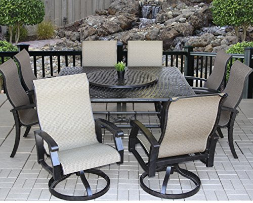 "Heritage Outdoor Living Cast Aluminum Barbados Sling Outdoor Patio 9pc Set with Series 5000 64"" Square Table - Includes 35"" Lazy Susan - Antique Bronze"