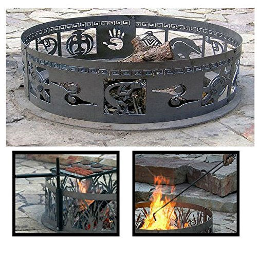 PD Metals Steel Campfire Fire Ring Native Design Design - Unpainted - with Fire Poker and Cooking Grill - Extra Large 60 d x 12 h Plus Free eGuide