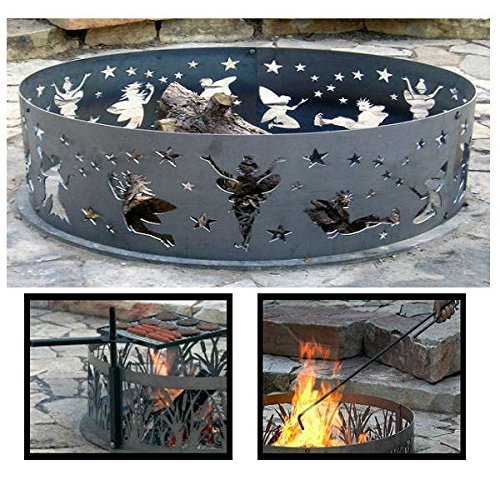 PD Metals Steel Campfire Fire Ring Fairy Design - Unpainted - with Fire Poker and Cooking Grill - Extra Large 60 d x 12 h Plus Free eGuide