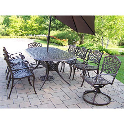 Oakland Living Corporation Dining Set with Table, 6 Chairs, 2 Swivel Rockers, Umbrella and Stand